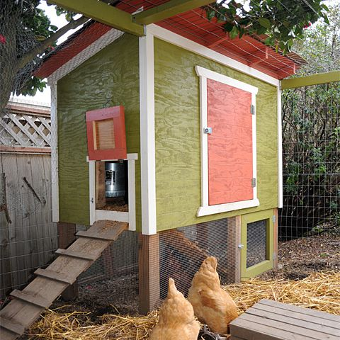 A red and green chicken coop