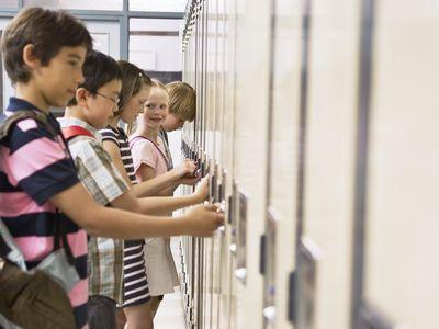 Schoolchildren unlocking school lockers