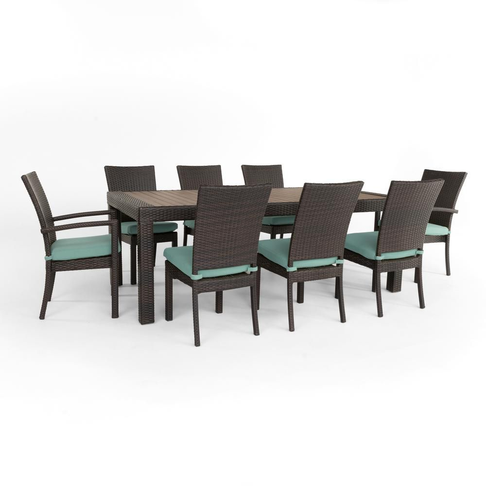 RST Brands Deco 9-Piece Patio Dining Set with Spa Blue Cushions