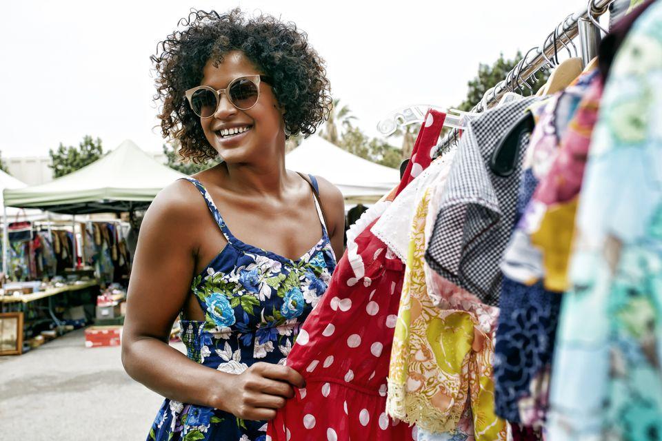 woman shopping at flea market