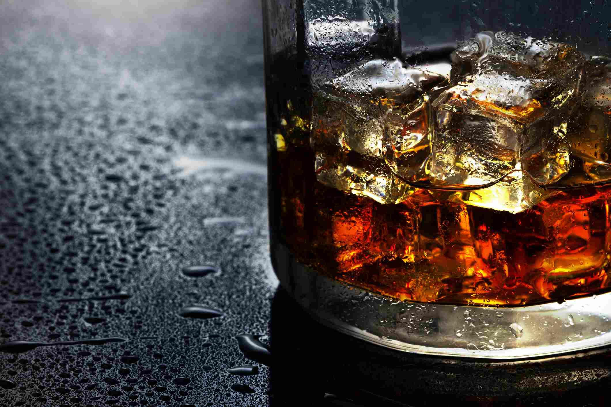Close up of scotch in a glass