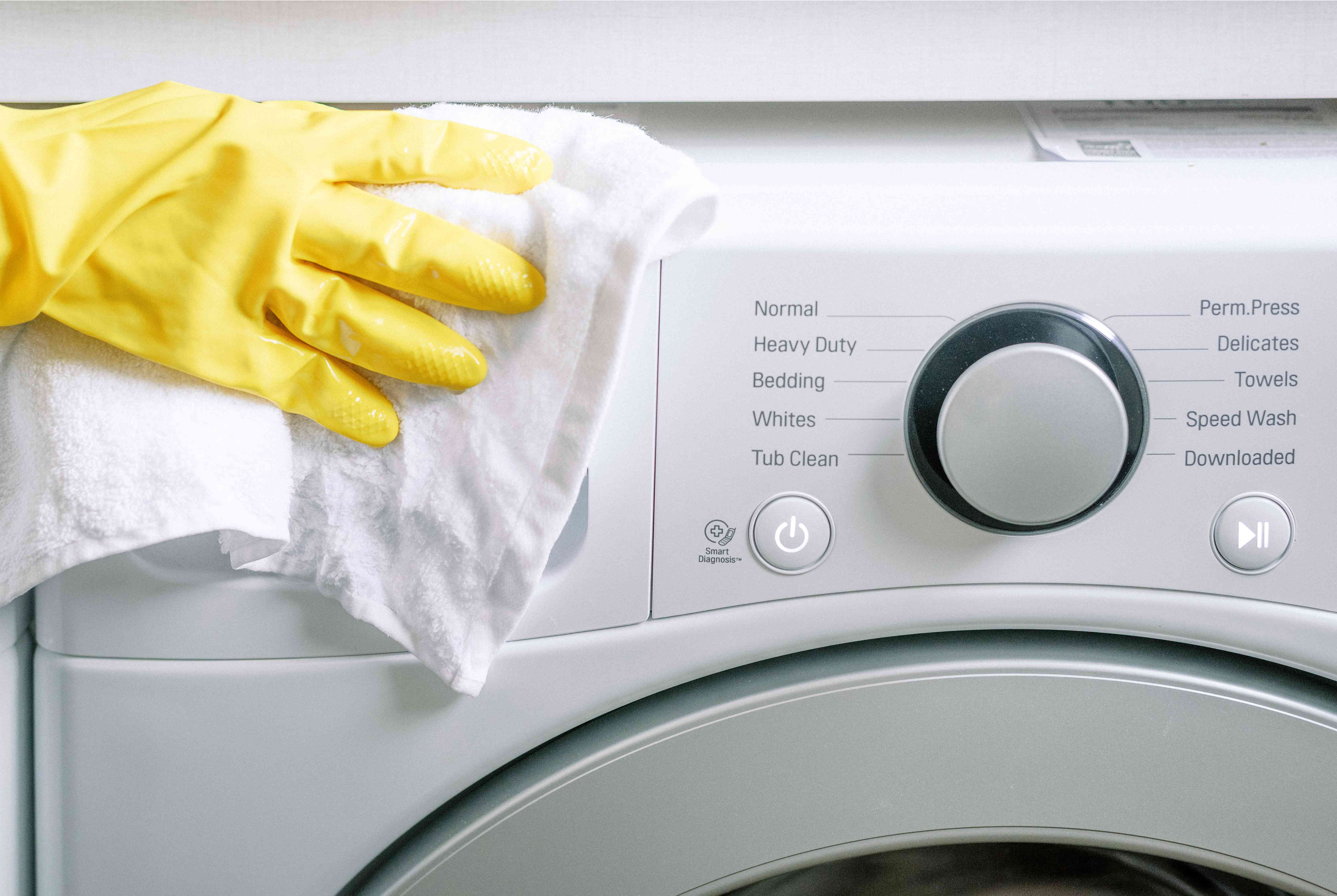 cleaning the exterior of the washer