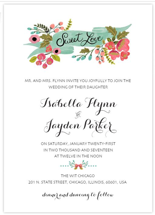 A modern floral free wedding invitation template.