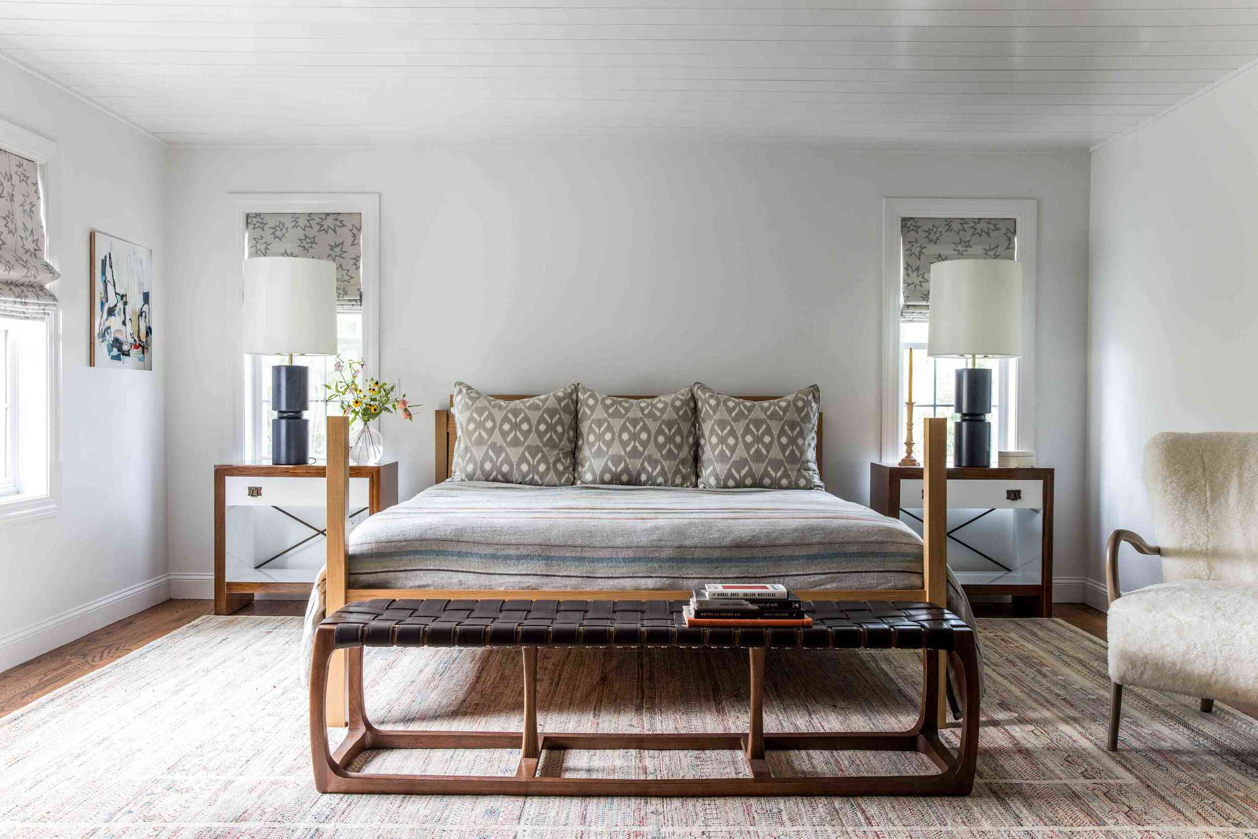 neutral bedroom with different patterns across the space
