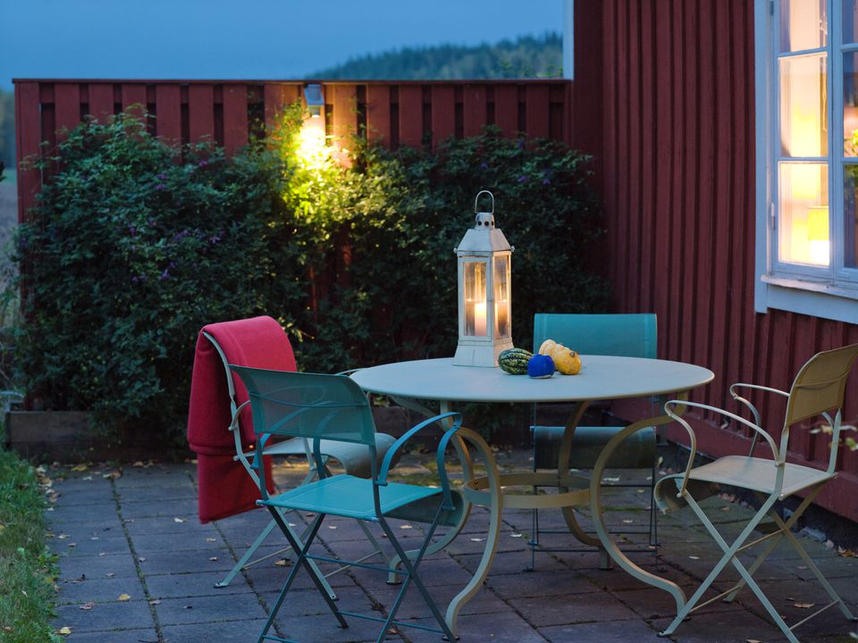 outdoor patio set at dusk
