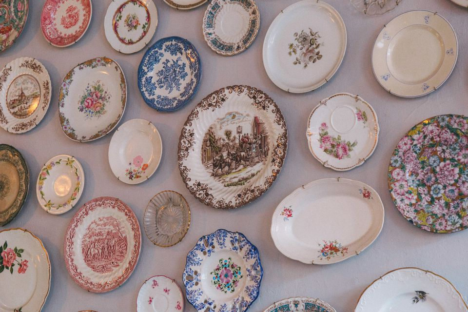 Antique plates hanging on wall