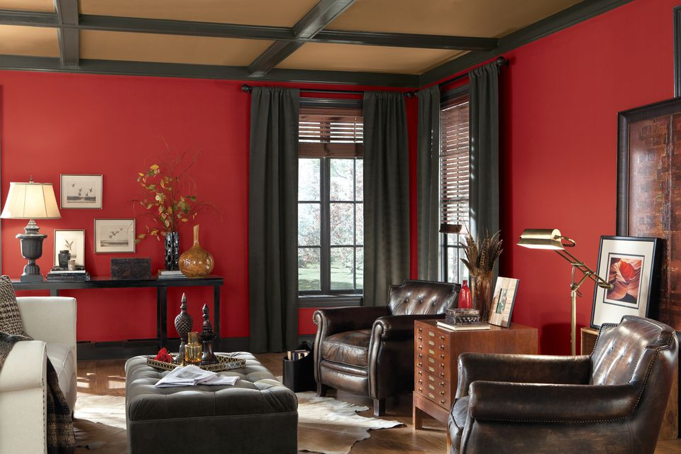 Red Paint Color in Living Room