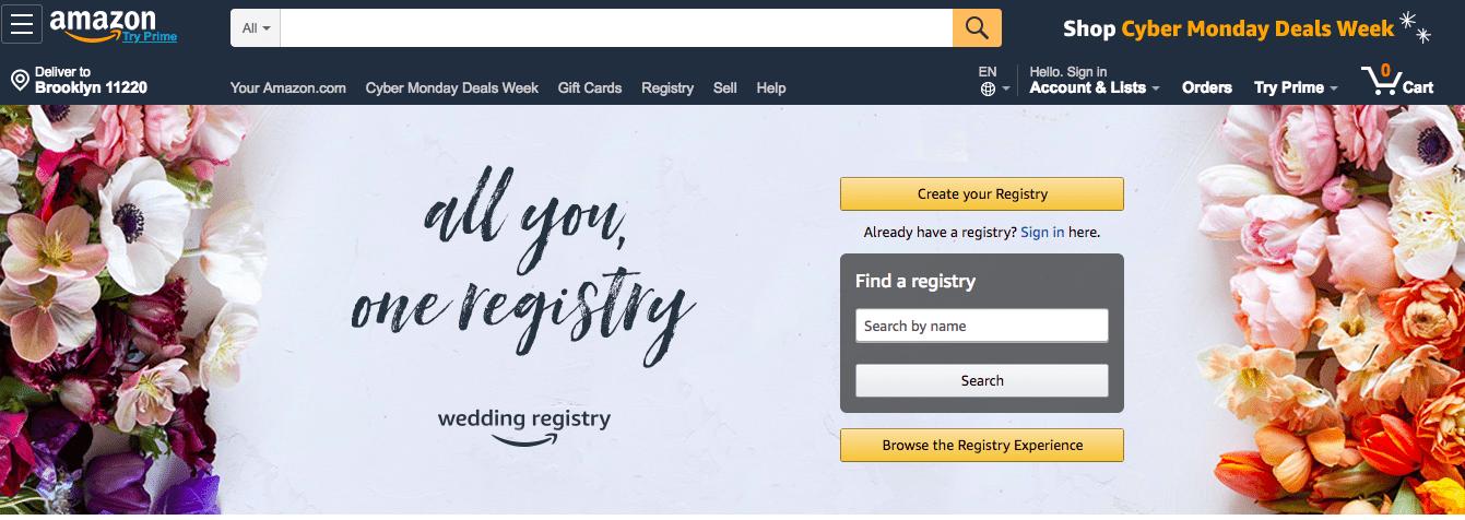Registro de bodas de Amazon