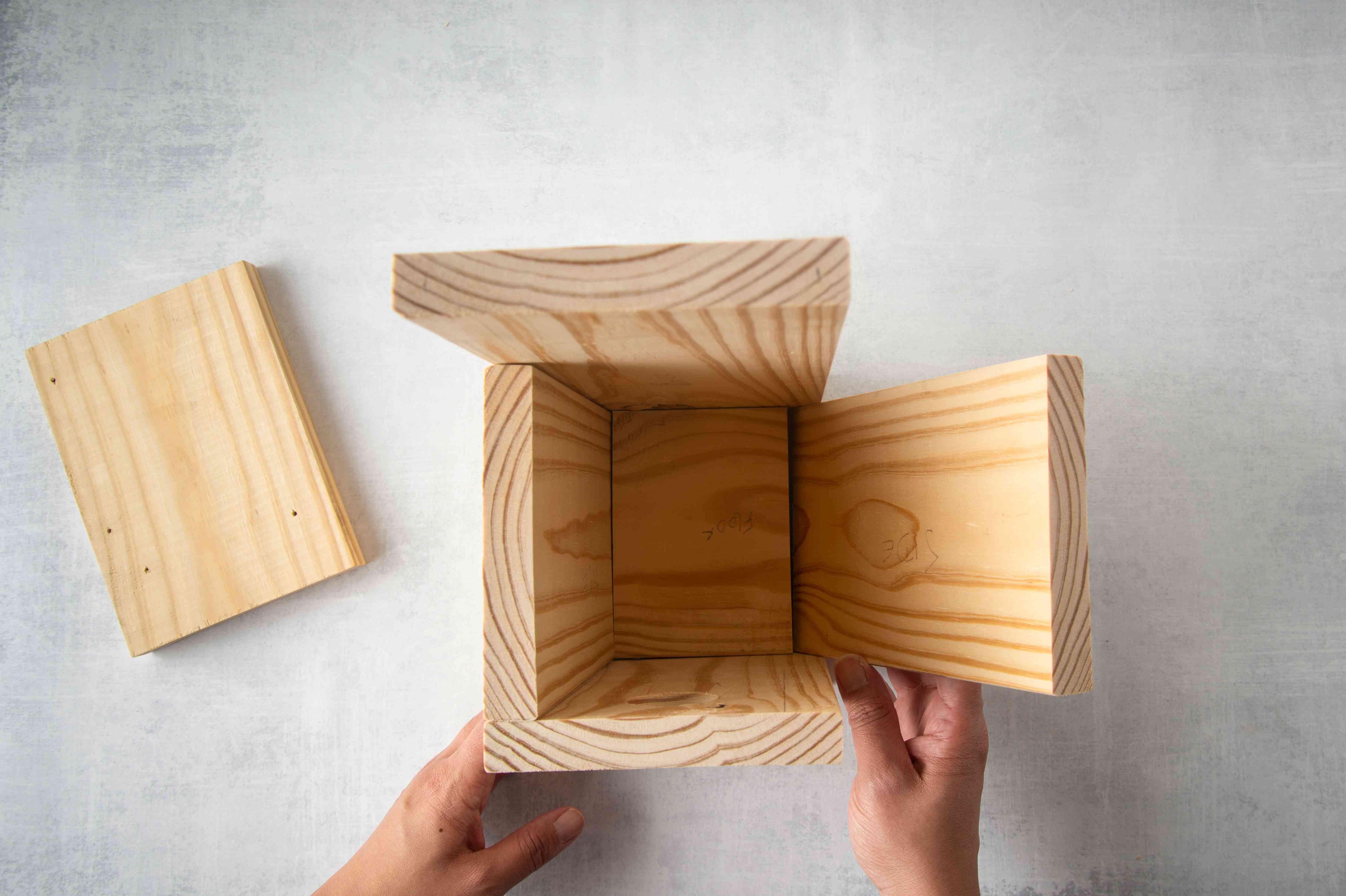 A birdhouse frame.