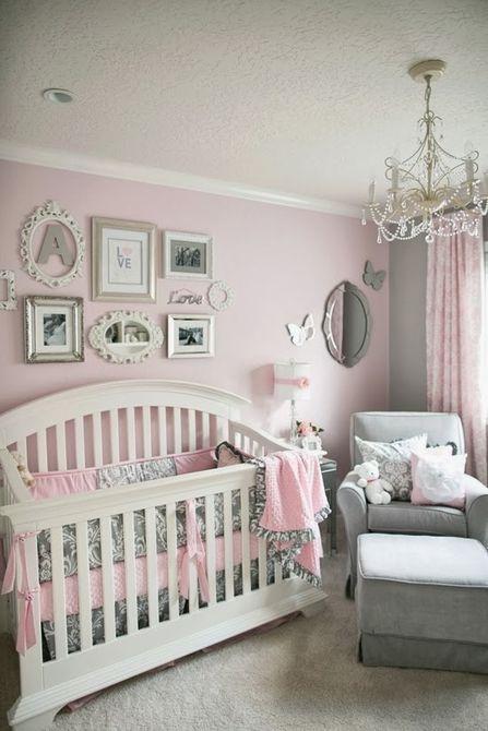 vivero rosa, blanco y gris