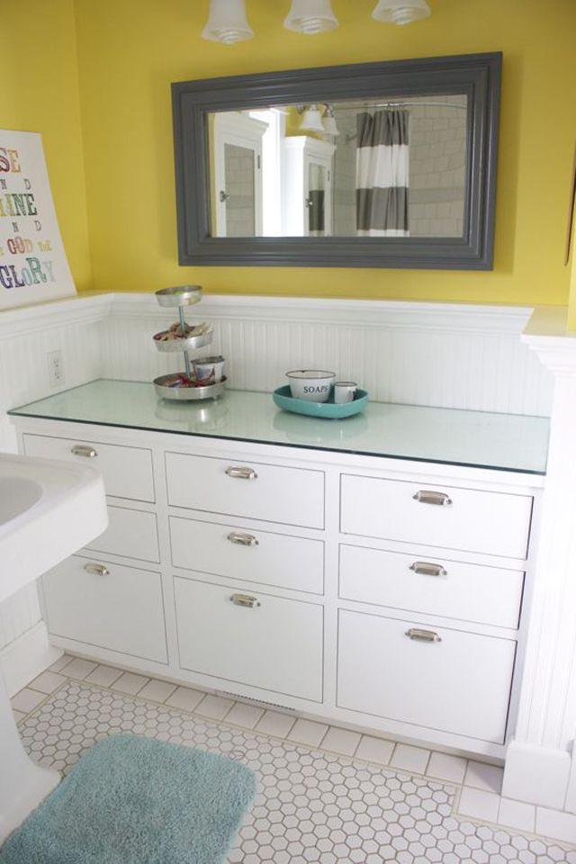 Kids bathroom with separate sink and vanity