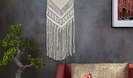 macrame wall decor in stylish living room