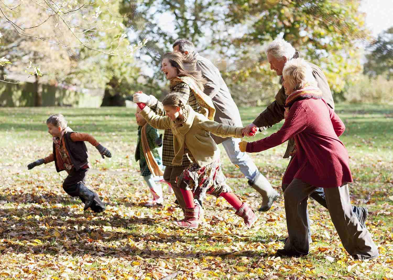 Extended Family Running in Park