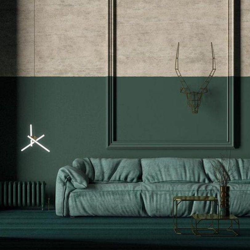 Salón creativo con paredes verdes y tostadas bifurcadas horizontalmente