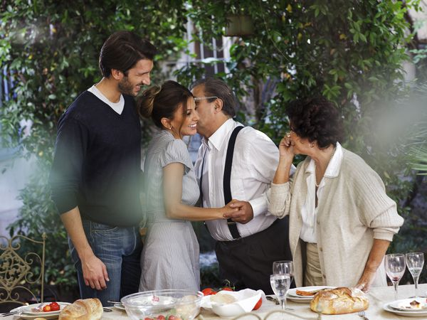 Proud Italian son introduces his fiance parents