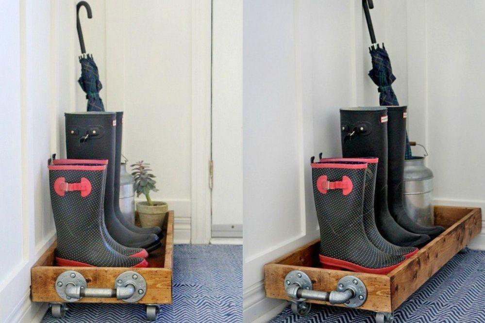 DIY rolling boot cart entryway