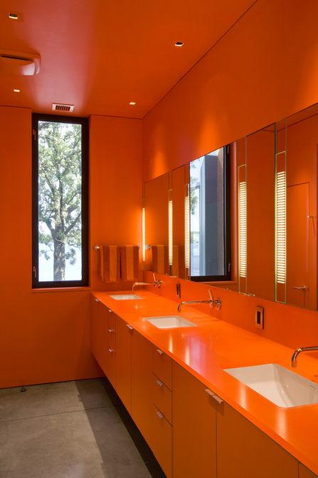 Modern orange monochromatic bathroom