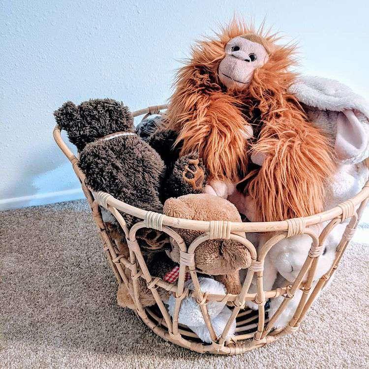 Woven baskets holding stuffed animals