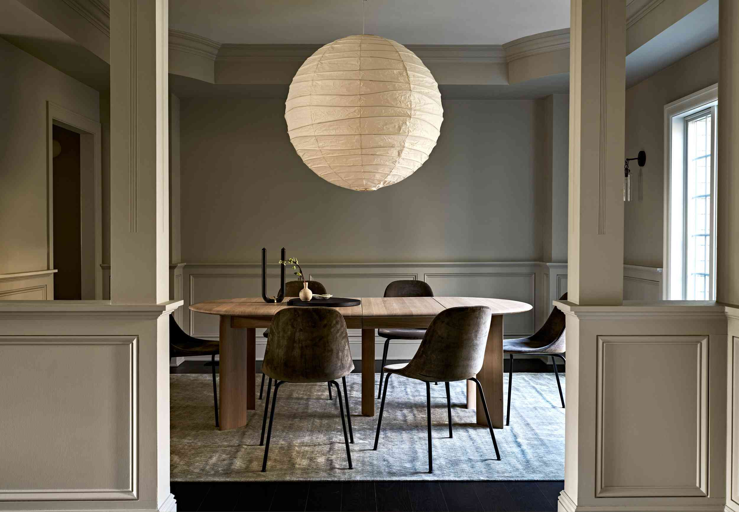 large lantern in dining room