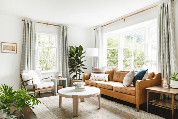 layered rugs in a living room