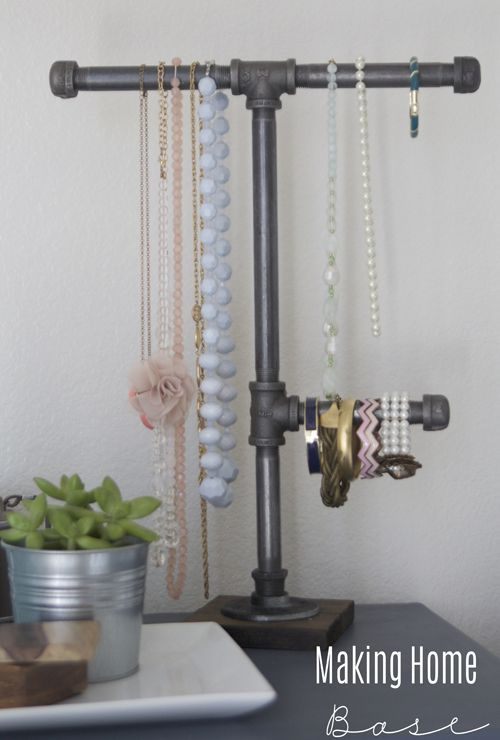 Jewelry hanging on a pipe