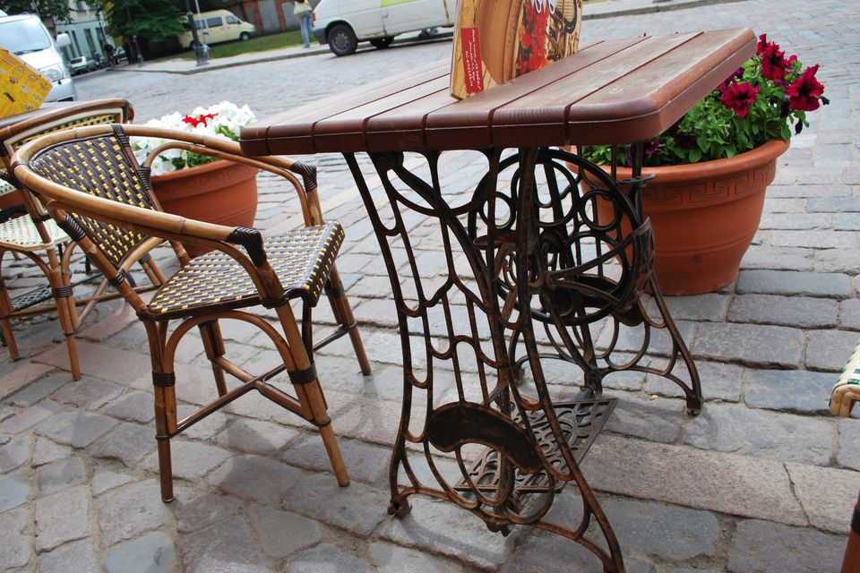 DIY table made from old treadle sewing machine