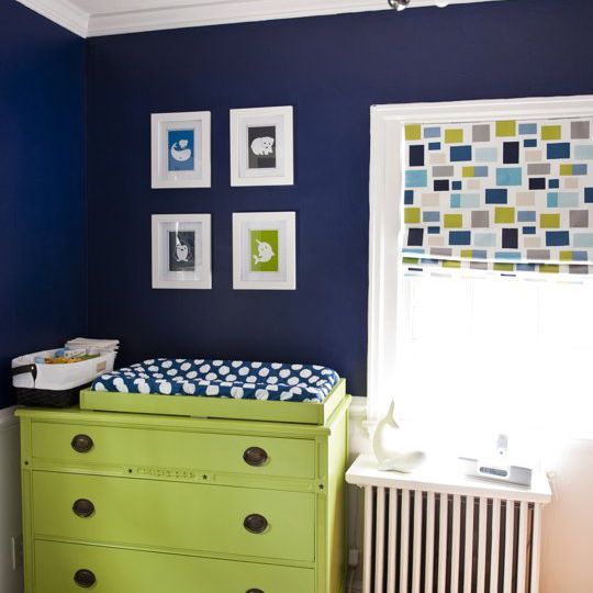 Navy nursery with lime accents
