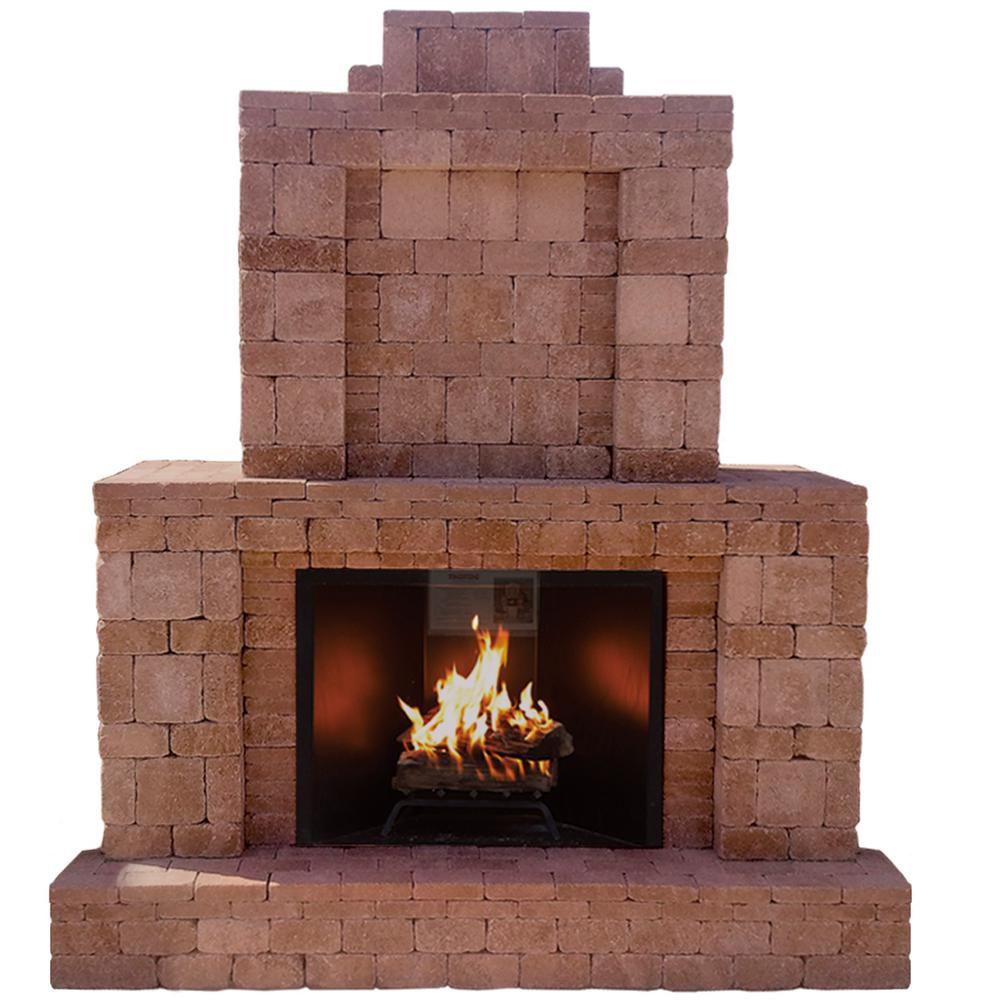 Pavestone RumbleStone Outdoor Stone Fireplace Kit