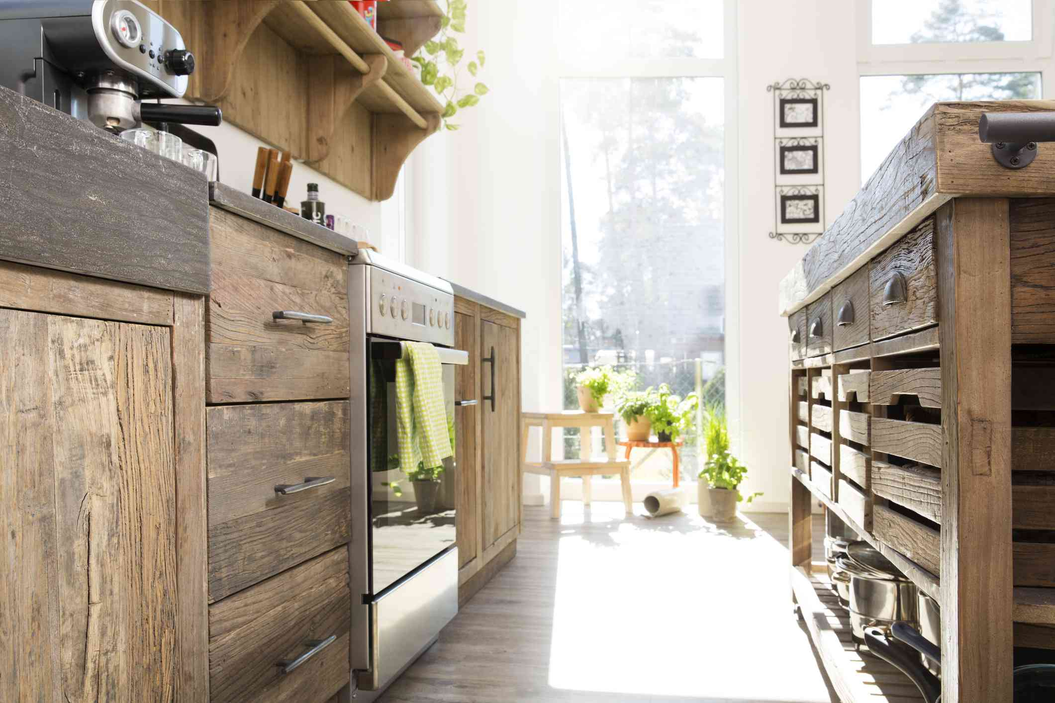Rustic country-style kitchen cabinets.
