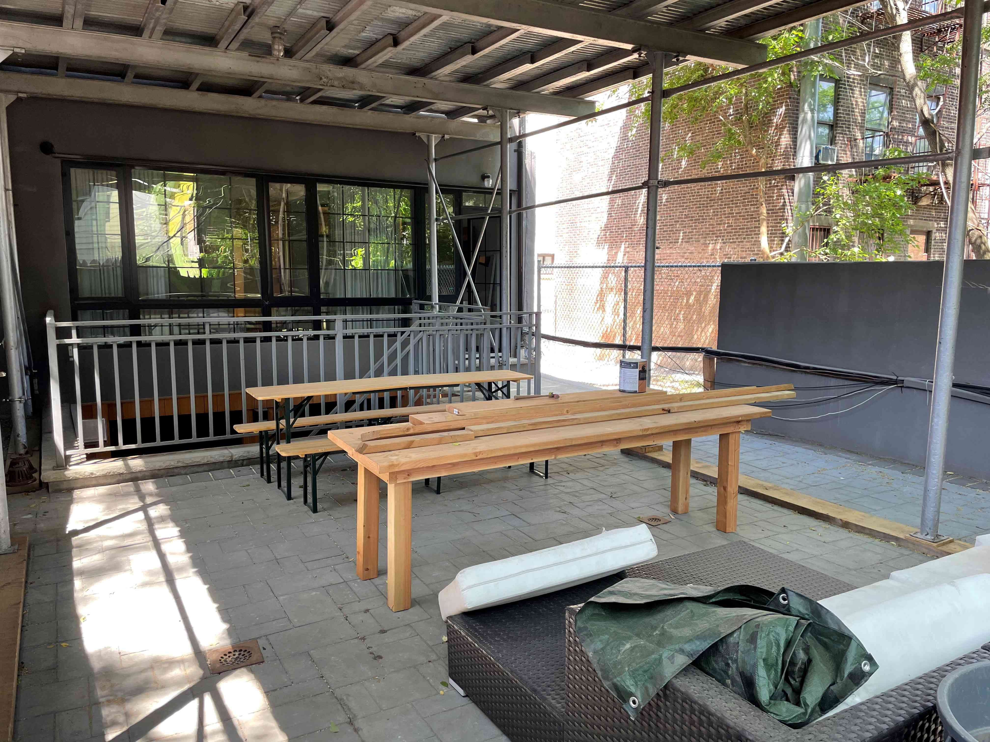 The construction site at Jamie Chung's Brooklyn backyard