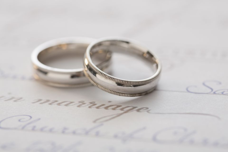 Marriage license and wedding bands