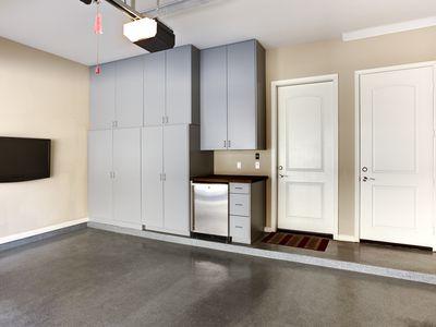 A set of garage cabinets
