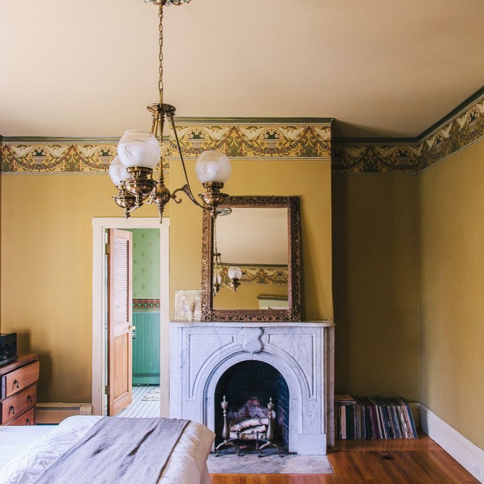 old house bedroom fireplace