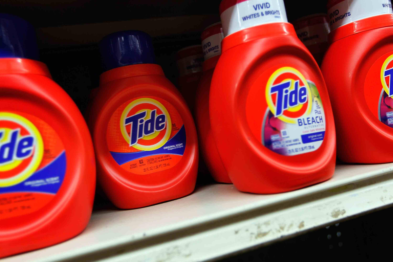 Tide Bottles on Shelf