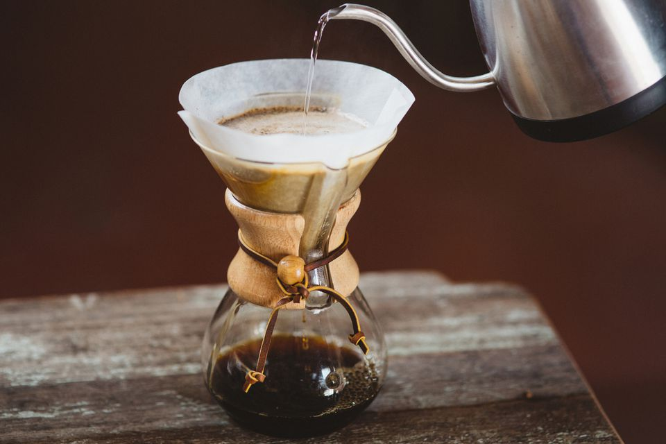 A pourover coffee brewed using a filter