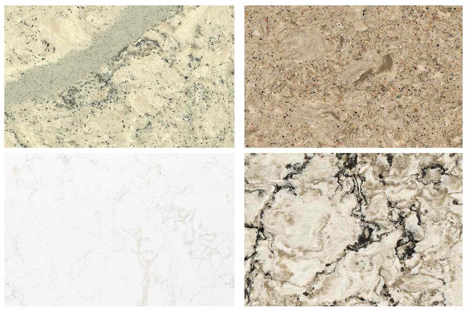 Four types of quartz countertops include Summerhill, Windermere, Torquay, Bellingham