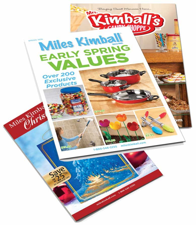 Three Miles Kimball catalogs laying on a table