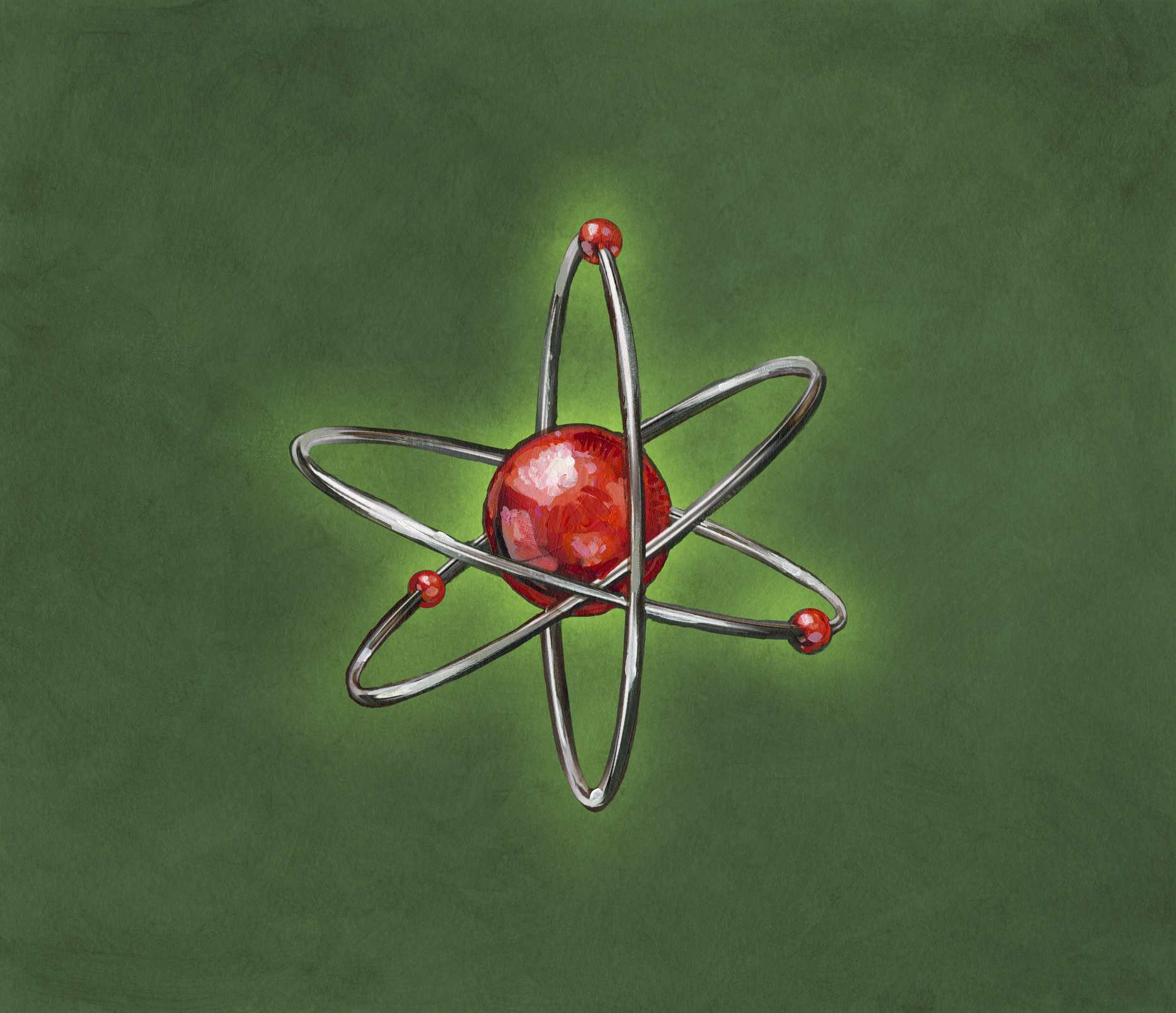 Atom orbited by electrons