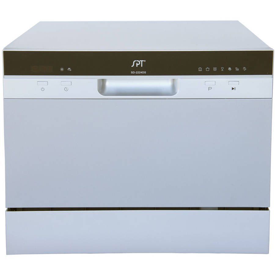The SPT SD-2224DS 22 in. Tabletop Portable Dishwasher is compact and has a delay start function.