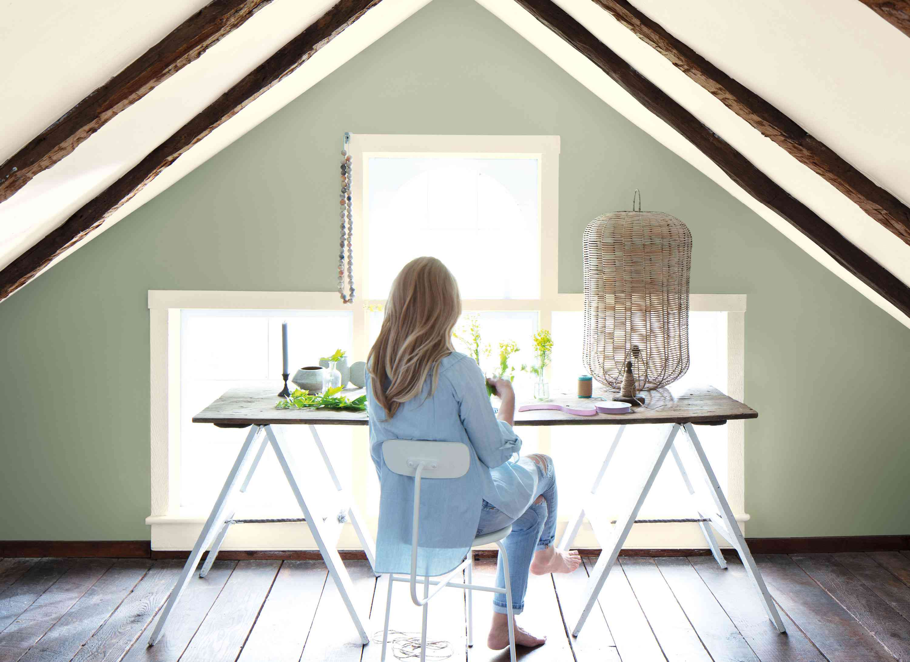 Benjamin Moore Color of the Year 2022 October Mist in home office space