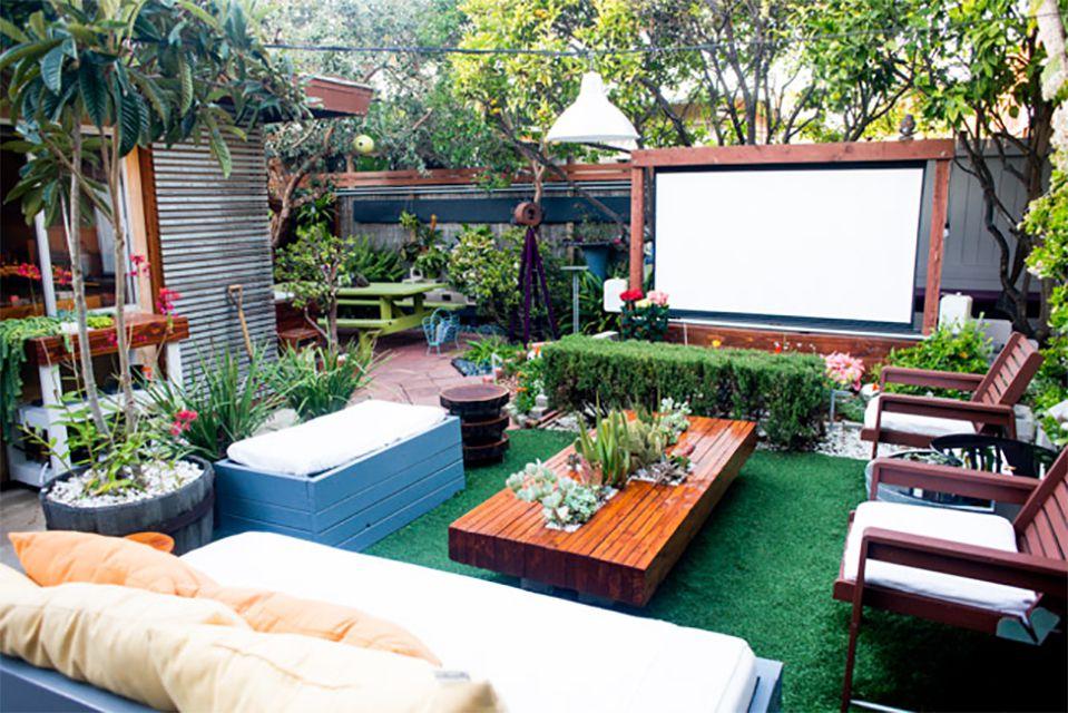 An outdoor wooden movie screen
