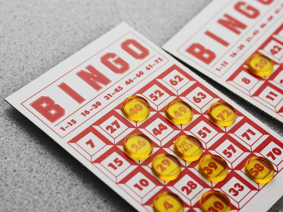 Still life of bingo card
