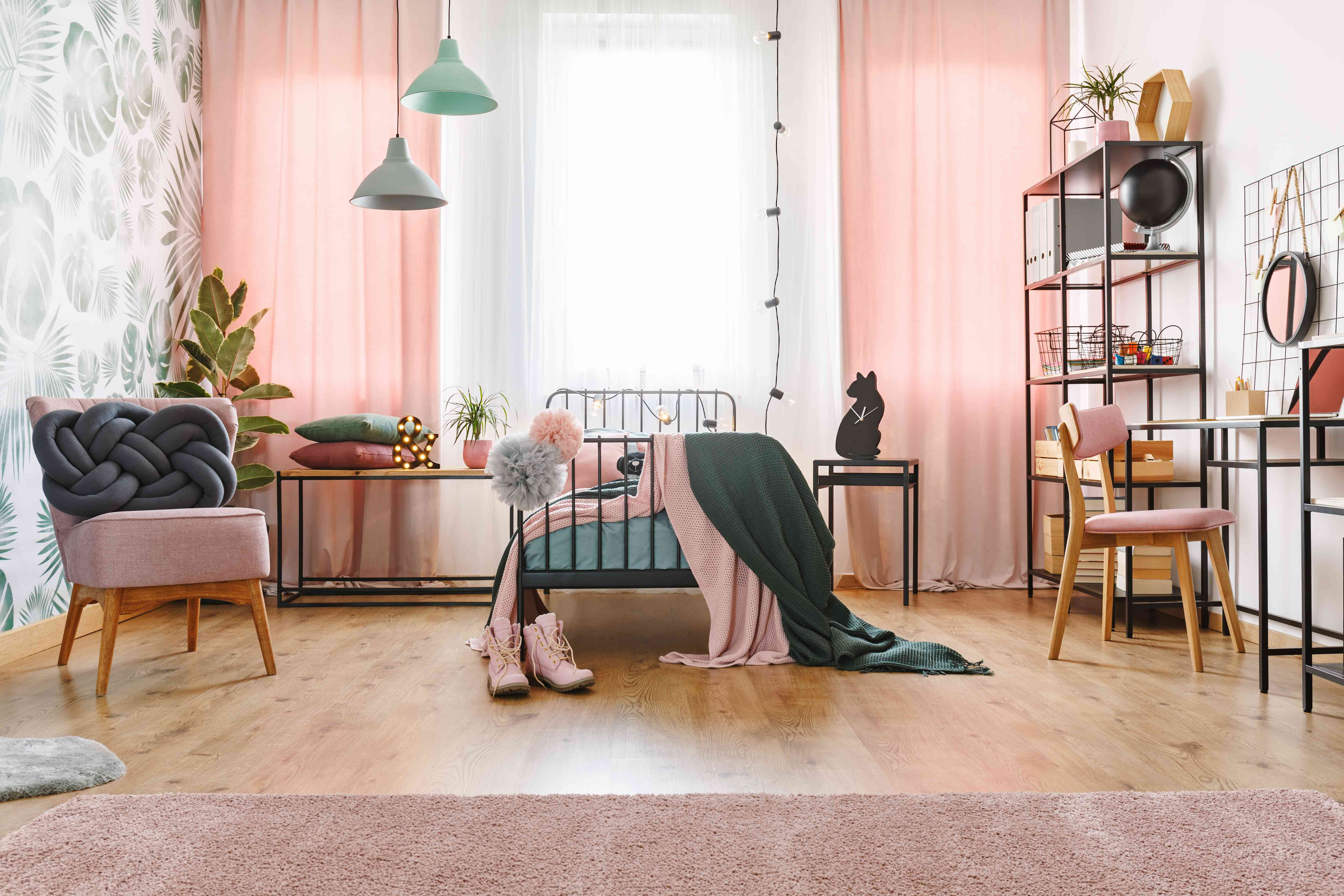 Pink and green pastel bedroom