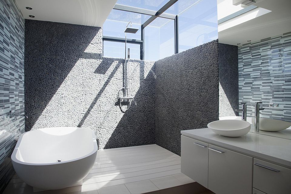walk in shower modern bathroom