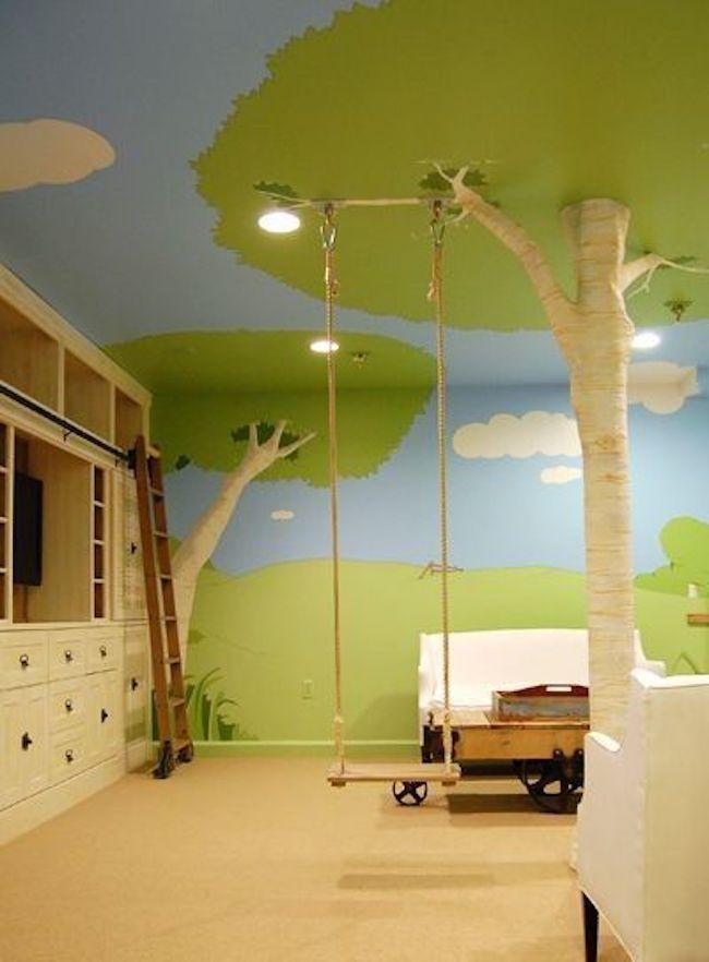a swing in a kids room