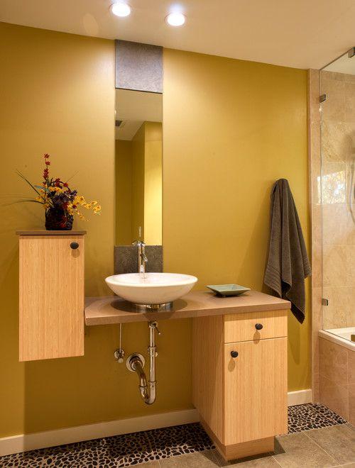 tocador de baño moderno baño de mostaza