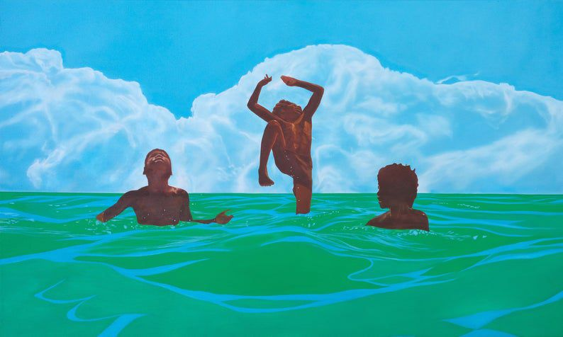 a painting of three black boys enjoy the water