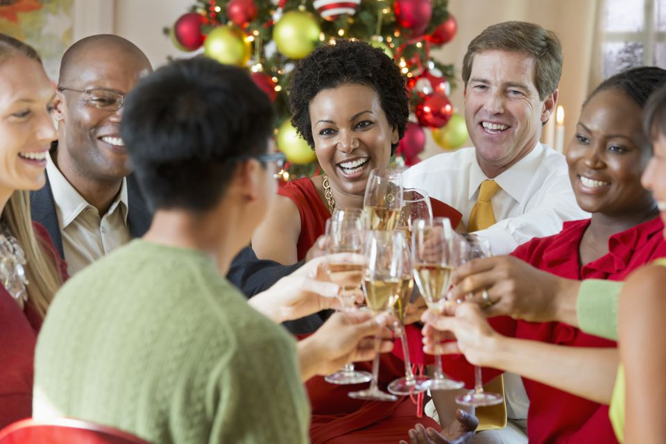 Group toasting during a holiday party