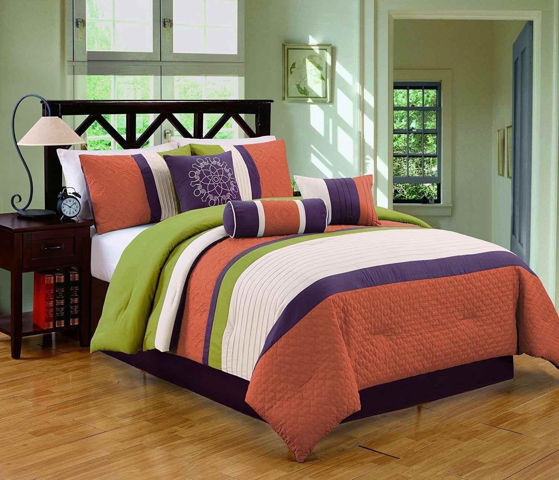 Naranja , juego de cama verde y morado .