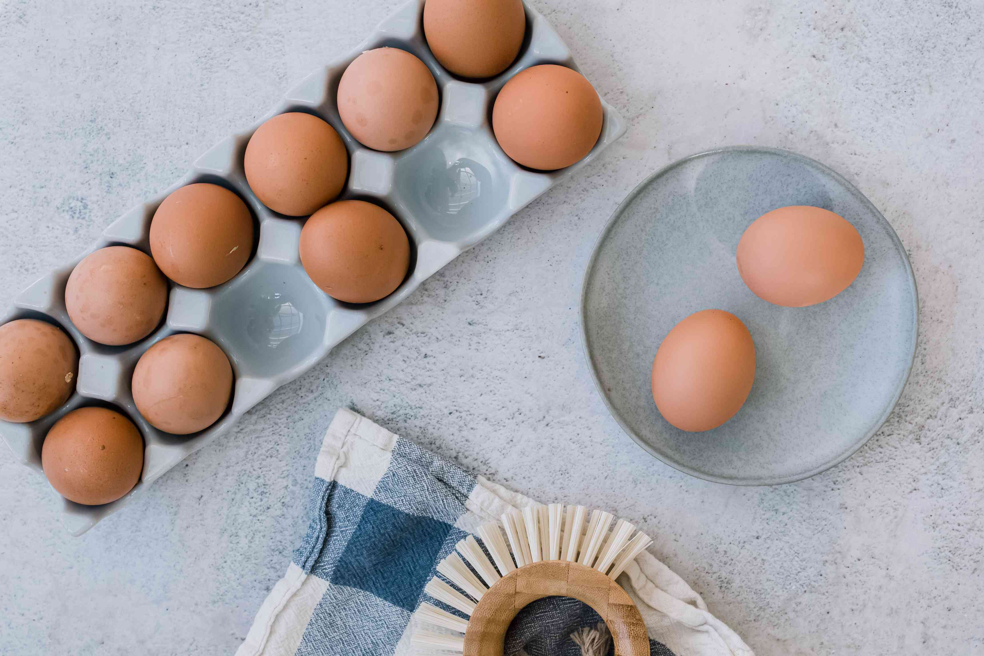 dry cleaning eggs with a brush